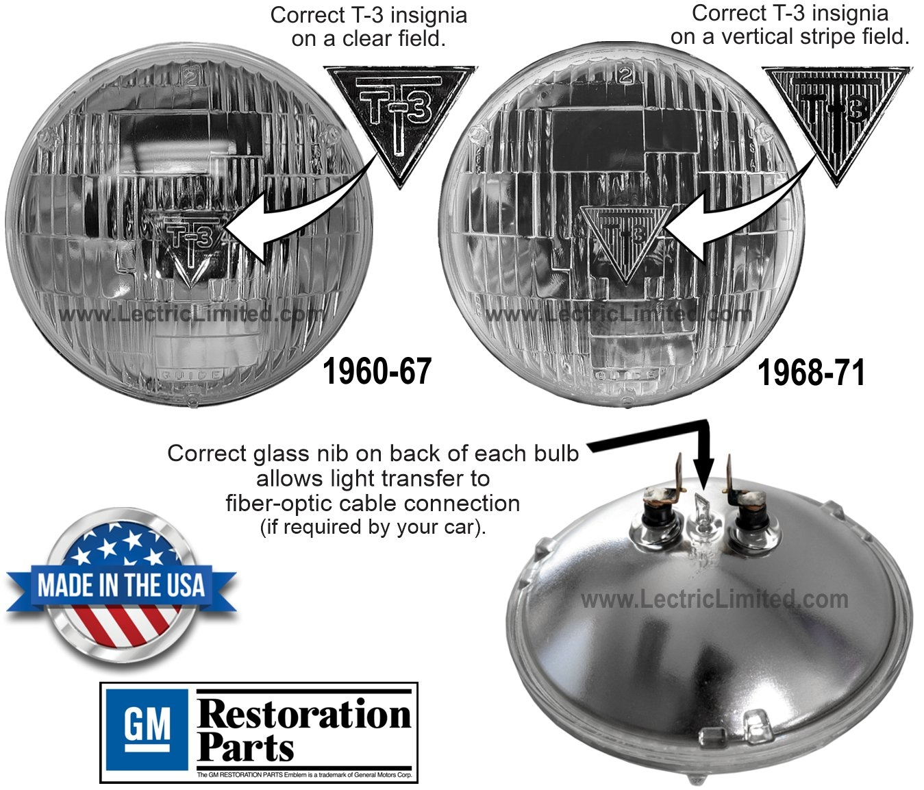 T3 T-3 Guide sealed beam headlight bulbs