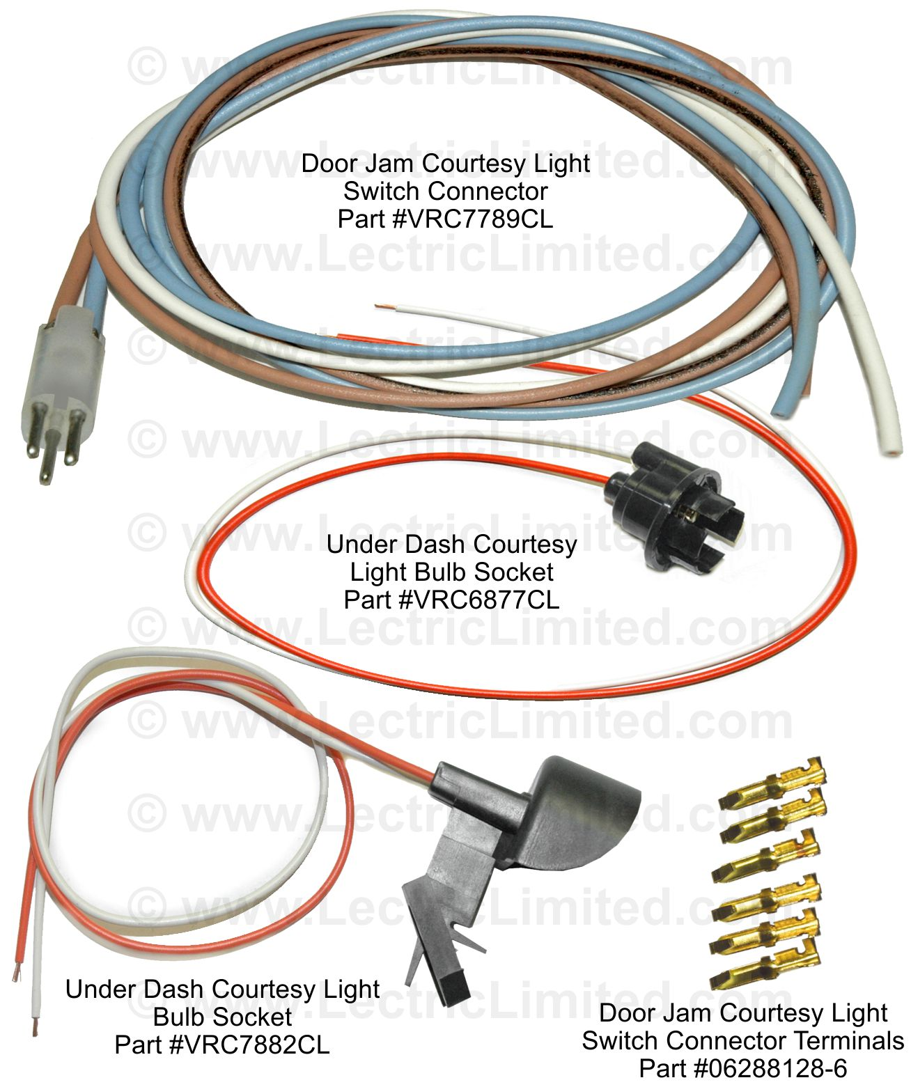 Repair Components Chrysler Wiring Harness Strap Clips Courtesy Light