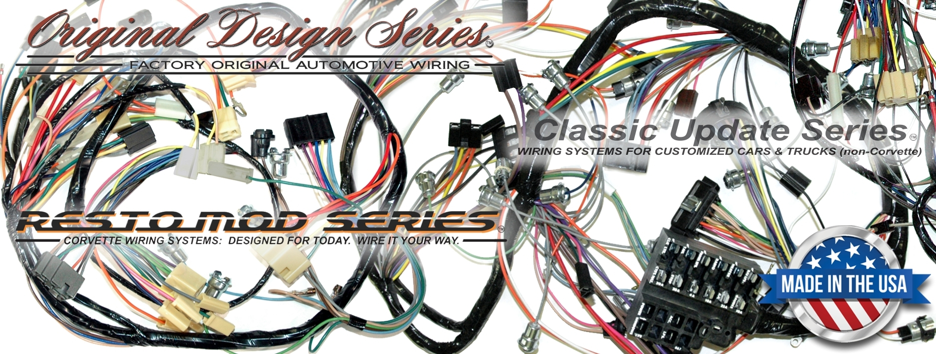 Exact OEM Reproduction Wiring Harnesses and RestoMod Wiring Systems on electrical harness, maxi-seal harness, suspension harness, pony harness, fall protection harness, alpine stereo harness, battery harness, obd0 to obd1 conversion harness, radio harness, cable harness, safety harness, pet harness, amp bypass harness, engine harness, dog harness, nakamichi harness, oxygen sensor extension harness,