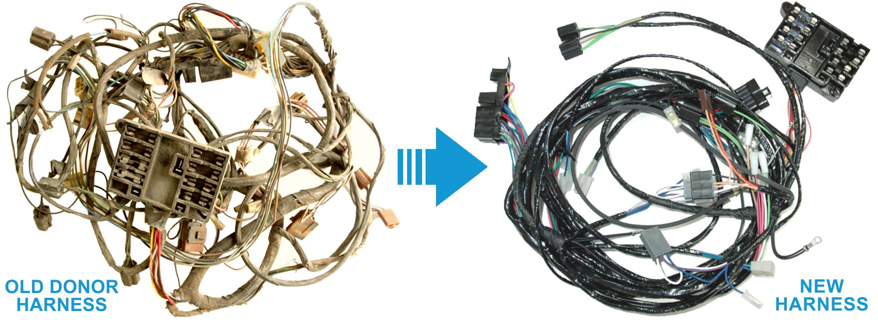 Exact OEM Reproduction Wiring Harnesses for Clic & Muscle Cars on pontiac g6 stereo installation, pontiac body control module, 2006 pontiac g6 headlight harness, pontiac transmission parts, pontiac brake lines, pontiac starter wiring, 2000 pontiac bonneville stereo wire harness, pontiac engine compartment, pontiac fuse panel diagram, pontiac seats,